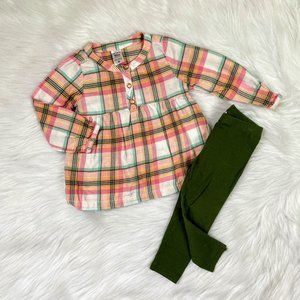 Carters Pink Plaid Flannel Tunic & Leggings 18M